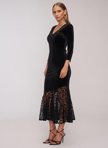 People By Fabrika Volanlı Kadife Elbise Siyah